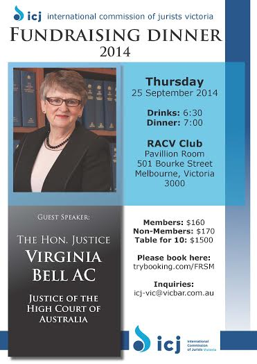 Tickets on Sale Now! 2014 ICJ Victoria Fundraising Dinner.