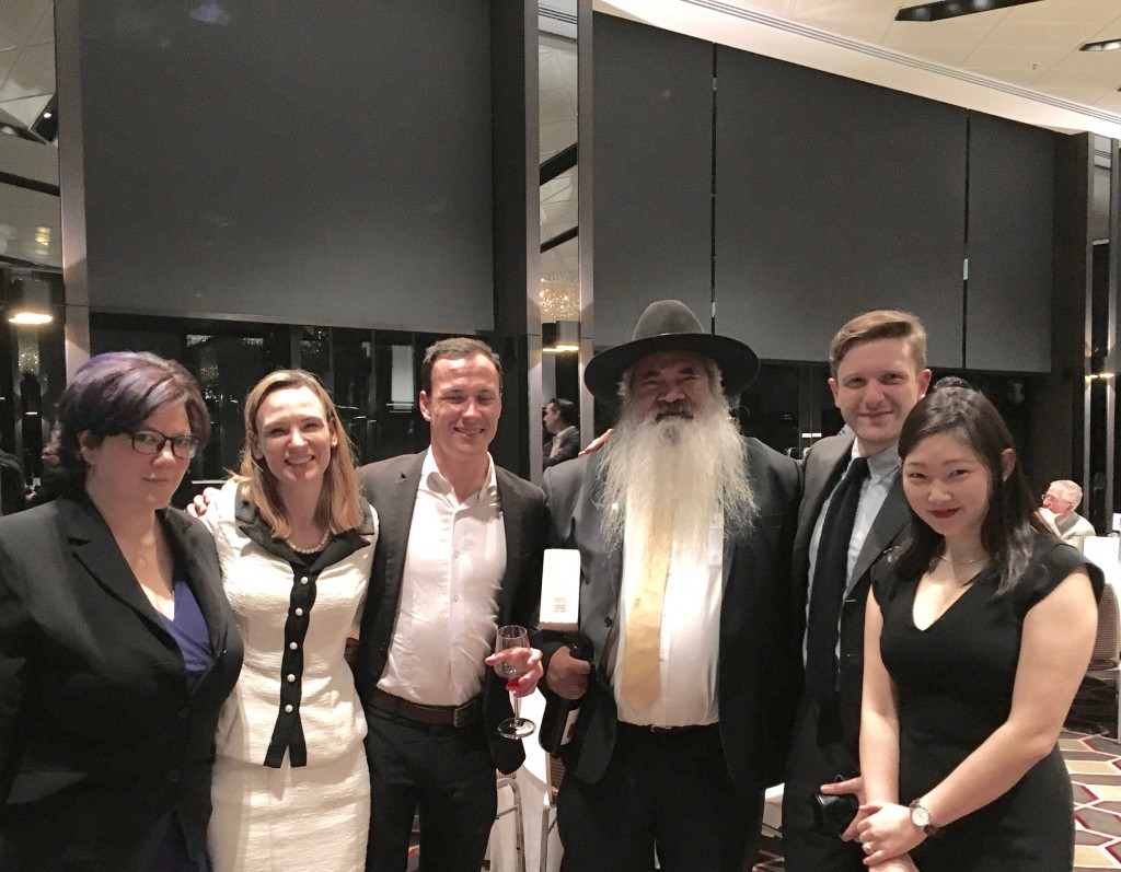 The ICJ Victoria executive: Shannon Finegan, Lucy Line, Carlo Dellora, Lachlan Martin and Daye Gang with Senator Dodson at the Annual Fundraising Dinner